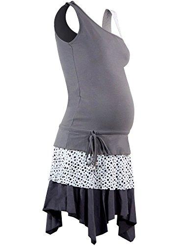 titoon® - Robe de grossesse et d'allaitement - Hamptons - Gris, blanc, volants - Avant-Pendant-Après grossesse