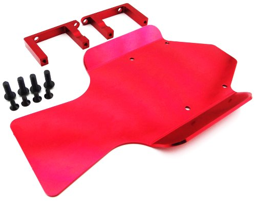 Atomik RC Alloy Mid Skid Plate for 1:10 Traxxas Revo 3.3 - Red (Revo Plate Skid)
