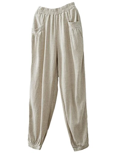 Minibee Women's New Cotton Linen Tapered Cropped Pants Elastic Waist Trousers Beige-XL