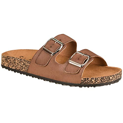 CLOVERLY Comfort Low Easy Slip On Sandal - Casual Cork Footbed Platform Sandal Flat - Trendy Open Toe Slide Sandal Shoes (6.5 M US, Chestnut)