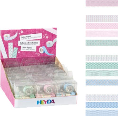 Heyda Decorative Tapes, Pink/Mint/Light Blue, 12mm x 3m, Set of 5Pieces
