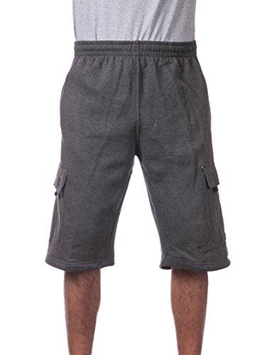 Pro Club Men's Fleece Cargo Short, Charcoal, X-Large ()