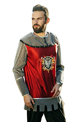 Adult Mens Costumes Warrior Noble (Adult Men Royal Knight Costume Noble Warrior Dragon Slayer Dress Up Role Play (Medium/Large, Crimson Red, Gray,)
