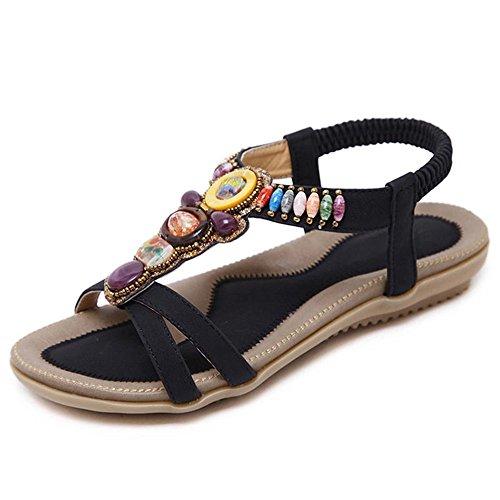 Sandalias de verano femenina de fondo plano de diamantes expuestos toe zapatos zapatos casual de vacaciones en la playa Negro