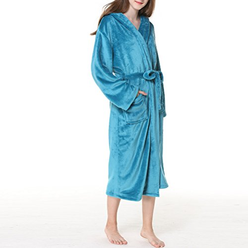 Hooded Winter Thick Plus Fashion Nightgown Zhuhaitf Pijama Flannel Women Peacock Men Warmth Albornoz Size Blue Comfy Unisex dfqRxwdp8T