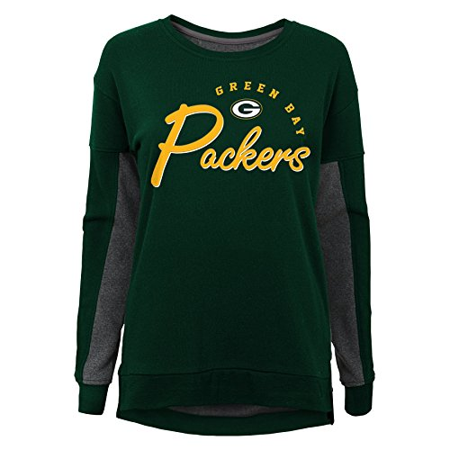 NFL Green Bay Packers Youth Boys in The Mix Long Sleeve Crew Neck Top Hunter Green, Youth Small(7-8) (Packers Shirt Girls)