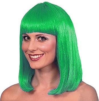 EL CARNAVAL Peluca Melena Flequillo Verde - Disfraz Marciano ...