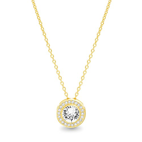 Crystal Solitaire Swarovski Heart - Devin Rose Yellow Gold Plated Sterling Silver 16