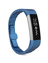 """Fitbit Alta HR and Alta Bands, MoKo Stainless Steel Replacement Smart Watch Band Wrist Strap Bracelet with Butterfly Buckle Clasp for Fitbit Alta / Fitbit Alta HR, Fits 5.11""""-8.07"""" Wrist, Blue"""