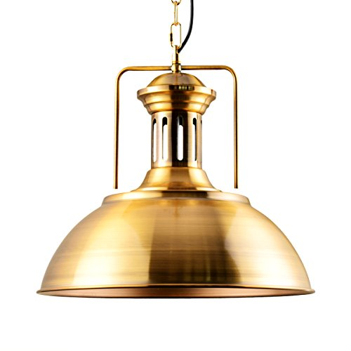 Golden Bronze Bowl Pendant - Lingkai Pendant Lighting Industrial Nautical Barn Pendant Light Single with Rustic Dome Bowl Shape Mounted Fixture Ceiling Lamp Chandelier (Golden Bronze)