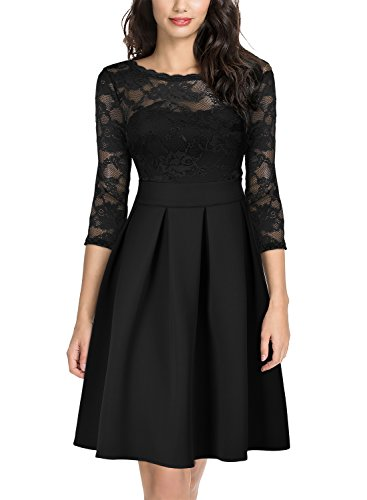 Miusol Women's Vintage Floral Lace 2/3 Sleeve Bridesmaid Cocktail Party Dress, Black, XL
