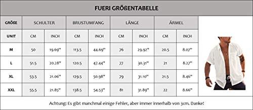 Hemd Herren Kurzarm Sommerhemd Leinen Baumwolle Umlegekragen Strandhemd Freizeit Shirts für Männer