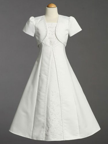 White Satin Embroidered Communion Baptism Dress with Bolero - Size 8 by Lito