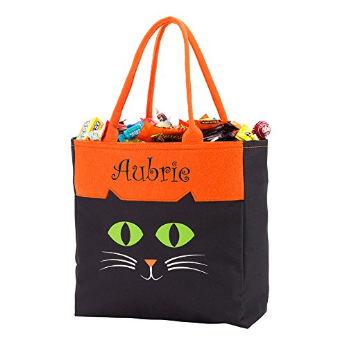 GiftsForYouNow Cat Halloween Personalized Trick or Treat Bag