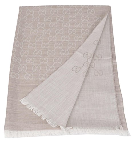 Gucci Women's Large Sand Beige Wool Silk GG Guccissima Scarf by Gucci
