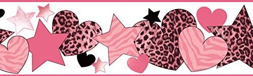 Chesapeake BBC94051B Diva Cheetah Hearts Stars Wallpaper Border, Pink