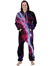 Leezeshaw Unisex 3D Long Sleeve Hooded Onesie Jumpsuit One Pc Pyjamas Nightwear Costumes