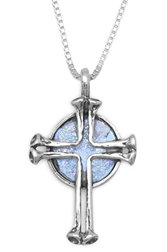 Glass Silver Roman Chain Sterling (1-1/4 inch Ancient Roman Glass Cross Pendant, 18 inch 1mm Box Chain Necklace, Sterling Silver)