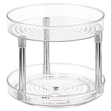 InterDesign Linus Two Tier Lazy Susan Turntable Spice Organizer Rack For  Kitchen   9u0026quot;