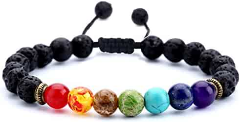 Hamoery Men Women 8mm Lava Rock 7 Chakras Beads Bracelet Braided Rope Natural Stone Yoga Bracelet Bangle
