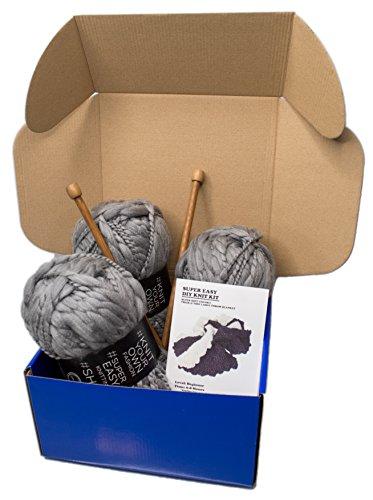 Large DIY Knitting Blanket Kit Soft Chunky Thick and Thin Bulky Yarn US 15 Needles (Dark Grey) by Rising Phoenix Industries