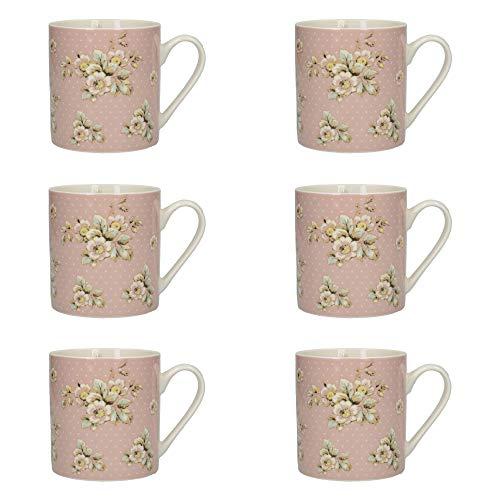 Katie Alice Cottage Flower 'Pink Floral' Fine China Polka Dot Mugs, 330 ml - Pink (Set of 6) ()