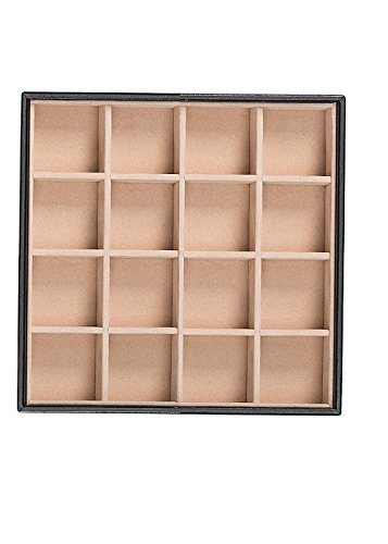 Dimensions Plastic Canvas Wire (Glenor Co Stackable Jewelry Tray Organizer - 16 Slot - Storage Display Case for Drawer or Dresser - Holder for Earring Ring Necklace or Cufflinks - Leather Design - Black)