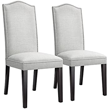 high back upholstered dining room chairs | Amazon.com - LANGRIA Modern Dining Chairs Faux Linen ...