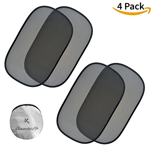 "Car Window Shade (4 Pack) | 80GSM Grade Baby Car Sun Shade - Maximum UV Ray, Sun Glare and Heat Protection for Kids and Pets - 4px 20"" x 12"" Static Cling Sunshades - Fit Most Car / SUV / Minivan / RV"