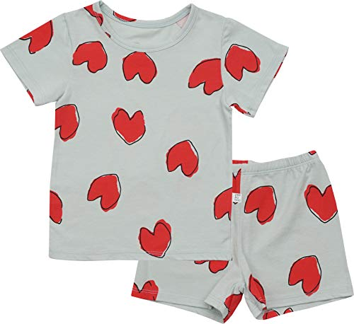 AVAUMA Baby Little Boy Girl Regular-Fit Cool Heart Pattern Pajamas Summer Short Sets Pjs Kids Clothes(Mint_L) ()