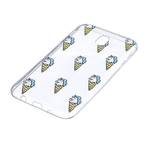 Funda para Samsung Galaxy J7 2017 (Solo disponible en versiones europeas) , IJIA Transparente Unicornio Nubes TPU Silicona Suave Cover Tapa Caso Parachoques Carcasa Cubierta para Samsung Galaxy J7 201 HX39