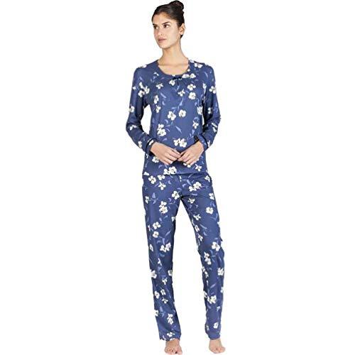 Egatex Pijama de Mujer Estampado Flores 182517 - Azul, L: Amazon.es: Ropa y accesorios