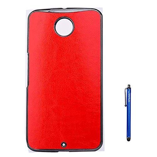 Nexus 6 Case,Vfunn Elegant Plating Hard Back Case Cover for Motorola Google Nexus 6 with 1 Clear Screen Protector 1 Stylus Pen (Nexus 6 Case) (PU Red)