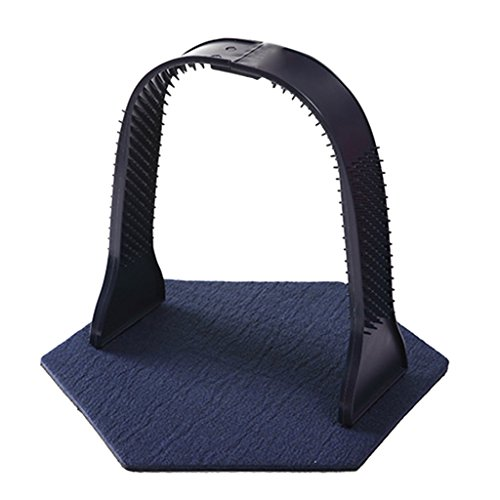 Homyl Pet Cats Self-groomer Scratcher Massager Arch Hair Cleaning Shedding Brushes - Blue