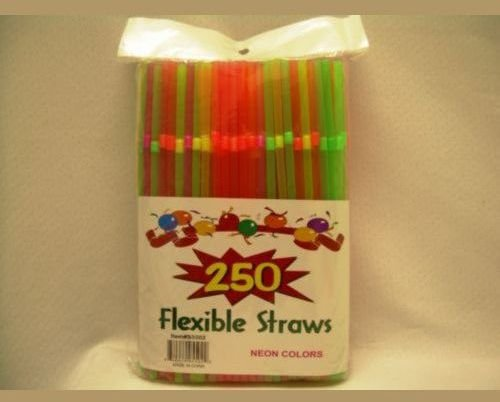 250 Flexible Straw Neon Colors In Bag Case Pack 48