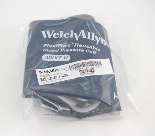 Welch Allyn REUSE-11-2BV Flexiport Blood Pressure Cuff, Reusable, 2-Tube, Tri-Purpose Connector, Inflation Bulb and Valve, Adult, Size-11