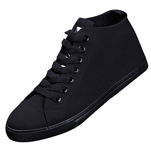 Ace Women's Teens Casual Flat High-top Laced-up Canvas Driving Shoes Fashion Sneakers (8, black)