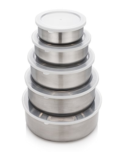 JUWA PREMIUM Nesting Stainless Steel Food Containers - Set Of 5 Stackable Space-Saving Metal Storage With Clear Leak-Proof Plastic Lids,For Camping, Lunch, Picnics, Travel, Leftovers, Soups, Salads