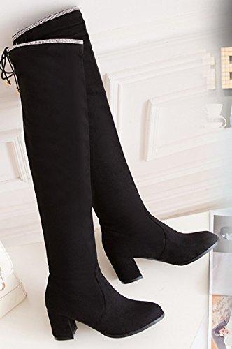 Bout Rond Tige Femme Cuissardes Bottes Noir Haute Sexy Aisun Igxv1Hwx