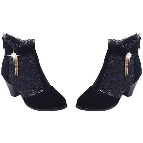 Diamant Heel Dentelle Kitten Noir Bling Court Chunky Femmes Bottes Bottines Faux Suède Hooh qAzTRR