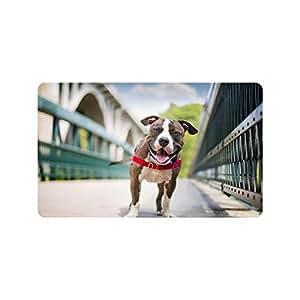 Especial diseño personalizado feliz perro personalizado antideslizante se puede lavar a máquina. Cuarto de baño Interior/Al aire libre Felpudo, 30por 18pulgadas