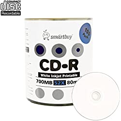 Smartbuy 700mb/80min 52x CD-R White Inkjet Hub Printable Blank Recordable Media Disc (100-Disc)