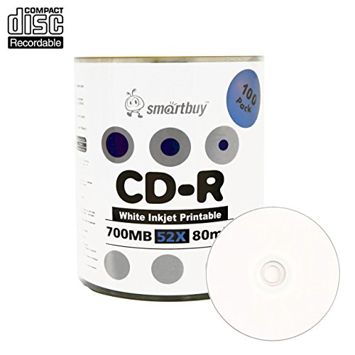 Smartbuy 100-disc 700mb/80min 52x CD-R White Inkjet Hub Printable Blank Recordable Media - Protective Spray Inkjet