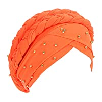 Cuekondy Double Braid Turban Cotton Chemo Cancer Cap Muslim Hat Stretch Hat Head Wrap Cap for Women