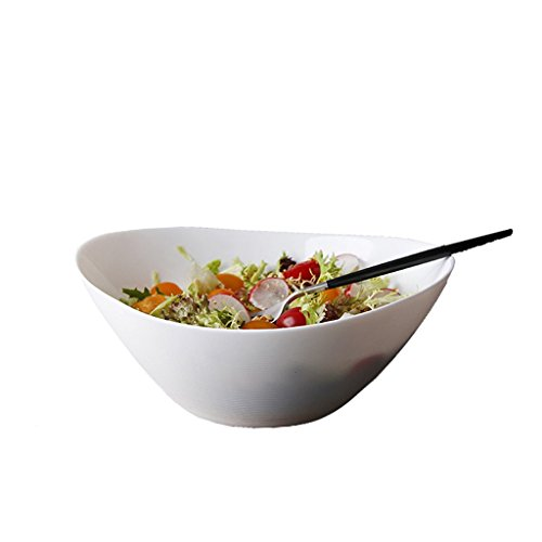 EXQUISITE Salad Bowl Heat-resistant tempered glass bowl Creative tableware mixing bowl noodle soup bowl Household white vegetable and fruit salad bowl 8 inches (24cm in diameter, 8cm high) Bowls Set