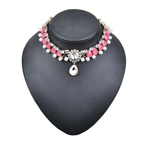 Misaky Women Punk Style Alloy Pearl Crystal Rhinestone Golden Chain Necklace Choker Gift for Women (Golden Pink Pearl Necklace)