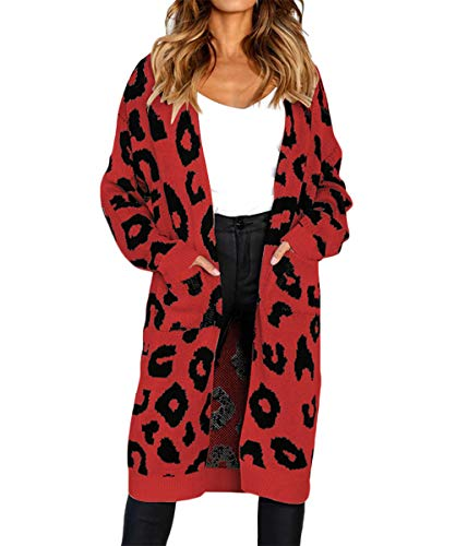 FAFOFA Plus Size Long Knit Cardigan Outwear for Women Leopard Print Long Sleeve Open Front Sweater Knitwear Coat Red XL