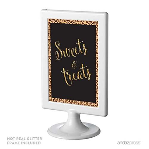 Andaz Press Birthday Framed Party Sign, Double-Sided 4x6-Inch, Sweets & Treats, Leopard Cheetah Print with Faux Gold Glitter, 1-Pack, Includes Frame ()