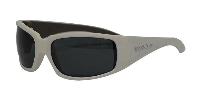 b64202fcf818 BOMBER STINK-BOMBS GLOSSY WHITE Frame SMOKE Lens wrap round 8 base 63mm  Polarized Sunglasses