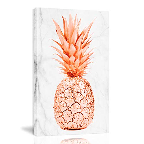 K-Road Pineapple Canvas Wall Art Framed Painting Modern Marble Texture Fruit Prints Bedroom Decor 10x16inch (Rose Gold)